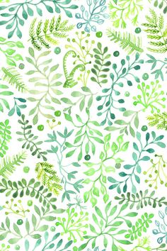 Prairie Foliage fabric, hand painted watercolor