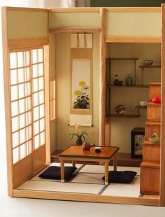 https://flic.kr/p/ma38w9 | Japanese style miniature room | The finished room! I'm very happy with how it turned out. I did a lot of research on designing this room. These photos are just to show off the construction of the whole thing, so I've placed only a few Re-ment miniatures in place (the original purpose of this room was for a Re-ment display).