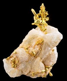 Gold on Quartz from Forest Hill Mine, Placer, California, USA