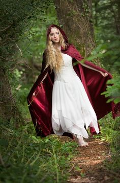 271WN - Satin Lined Wine Hooded Cloak  - Gothic, romantic, steampunk clothing from The Dark Angel