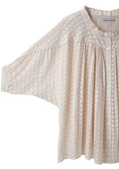 Tsumori Chisato Mushroom Blouse in cream. Stylish Dress Designs, Designs For Dresses, Stylish Dresses, Kurta Designs Women, Blouse Designs, Hijab Fashion, Fashion Dresses, Dress Sewing Patterns, Fashion Sewing