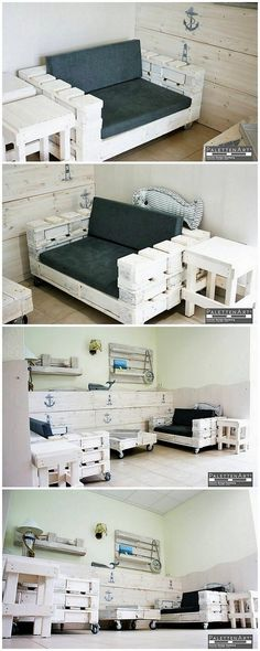 White color has always remained the sign of elegance and simplicity, and when you avail the use of such colors in the wood pallet furniture outlook then it does look much more mesmerizing. Have a look at this awesome wood pallet furniture set as all the more designed in sophisticated terms.