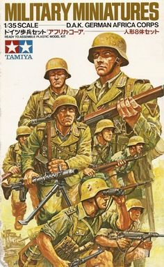 Cover from a Modelkit box. Tags: #Illustration #German #Africa #Corps #Tamiya #Wehrmacht #WWII