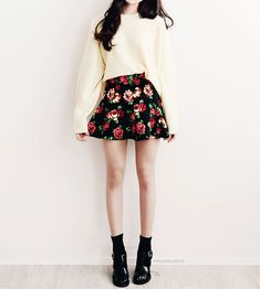Tags: Girl outfit korea korean asian style fashion teen tenage cool sneakers shoes college floral skirt #KoreanFashion