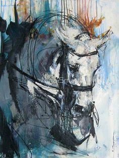 Dressage - Grey Stallion in Focus by Nina Smart - horse art Arte Equina, Horse Artwork, Illustration Art, Illustrations, Guache, Horse Drawings, Equine Art, Horse Love, Animal Paintings