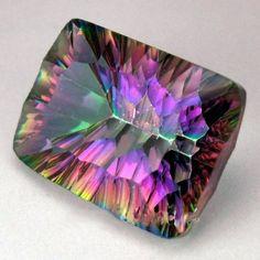 Large Mystic Topaz Gemstone -large  - cushion cut rectangular faceted gemstone -  Rainbow Topaz -  emerald cut quartz colorful big. $45.00, via Etsy.