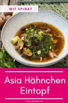 Heute hab ich eines meiner liebsten asiatischen Rezepte für dich. Mein Asia Hähnchen Eintopf mit Spinat ist super lecker und geht auch extrem einfach. #asiahähnchen #asiahähnchenpfanne #asiahuhn #asiatischerezepte #asiatischegerichte Atkins, Super, Tricks, Ramen, Japanese, Ethnic Recipes, Food, Stew, Spinach