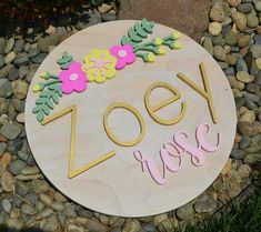 Wood Round Name Sign 18 Inch Floral Nursery Sign Personalized