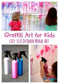 Do you have a messy little artist at home? Let them try Graffiti Art in life-size outside where they can be as messy as they want with this great process art activity. Hose them and any mess down when they are done!