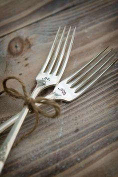 Mr. & Mrs. handstamped Dessert or Dinner Forks - cute idea for bridal shower gift