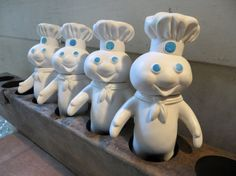 Collection of Four Identical Rubber Pillsbury Poppin Fresh Doughboy Figures: Set of Blue & White Promotional Chef Mascots