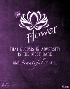 The flower that blooms in adversity is the most rare and beautiful of all.   Purple Quote
