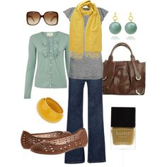 """teal and yellow"" by htotheb on Polyvore I <3 that cardigan and it comes in like 5 shades!!"