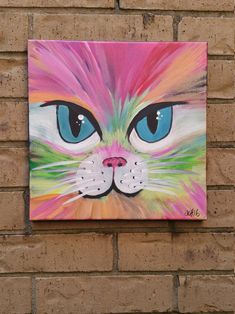 Groovy Cat 12 x 12 acrylic kitty painting Disney Canvas Paintings, Canvas Painting Designs, Kids Canvas Art, Easy Canvas Painting, Simple Acrylic Paintings, Animal Paintings, Diy Painting, Acrylic Painting For Kids, Canvas Crafts