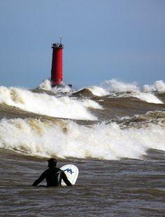 Surf Sheboygan Water Surfing, Great Lakes, Geography, Fresh Water, Wisconsin, Waves, World, Surfing, Ocean Waves