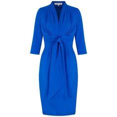 Crepe Silk Dress |Silk Tea Dress | Ladies Designer Dresses | Ocean ($1,520) ❤ liked on Polyvore featuring dresses, tea dress, blue dress, crepe dress, below knee dresses and blue crepe dress