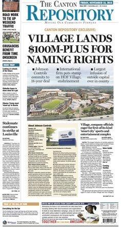 The front page of The Canton Repository for November 18, 2016. Read more at cantonrep.com