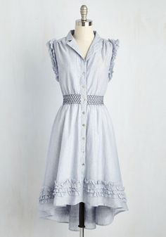 So Haute in Here Dress by Ryu - Blue, Solid, Casual, A-line, Shirt Dress, Short Sleeves, Spring, Woven, Best, Mid-length