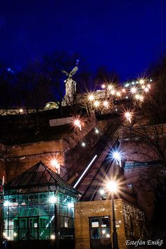 The Funicular at  night, Budapest, Hungary