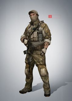 The Recon class of the Russian Ground Forces in Battlefield 4. The guy is armed with the SV-98 bolt-action sniper rifle, while she is armed with the UMP-45 and an SVD-12 DMR. Line art:fav.me/...
