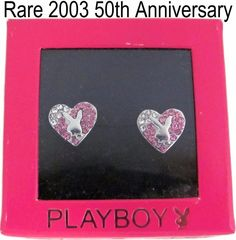 NEW in Box Playboy Earrings Stud Heart Bunny Pink Swarovski Crystal Pink NIB NWT #Playboy #Stud