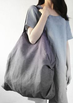 Linen Bag Large Reusable Shopping Tote Beach Bag SHIPPING WORLDWIDE  100% Linen Valentine gift Eco friendly flax Grey Gray Strong Big bag by LinenStyle on Etsy