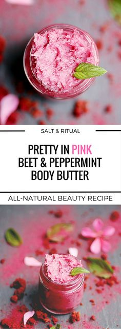 Lovely combination of beets, coconut and peppermint to create this easy pink-hued DIY body butter at home. Vegan all-natural beauty recipe.
