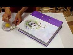 Decoupage tutorial - DIY. How to decorate folder with rice paper. Dekorieren ordner - YouTube