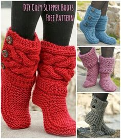 Happy DIY Mom: FREE Knitted Pattern for Cozy Slipper Boots DIY