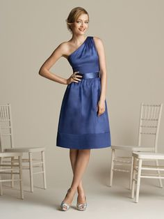 asymmetrical pleated cobalt single-shoulder bridesmaid dress BMD26 $112