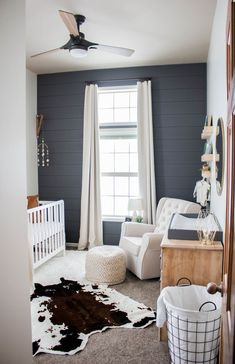 Baby boy nursery with modern farm house vibes. Gray accent wall really make the white crib and rocker stand out. Baby boy nursery with modern farm house vibes. Gray accent wall really make the white crib and rocker stand out. Baby Bedroom, Baby Boy Rooms, Baby Boy Nurseries, Nursery Room, Kids Bedroom, Accent Wall Nursery, Accent Walls, Rustic Baby Nurseries, Carters Baby