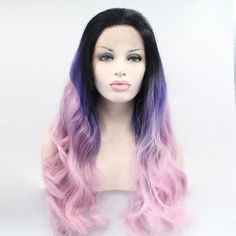 Sylvia black/blue/purple ombre body wave synthetic lace front wigs long heat resistant fiber hair with dark roots for woman Purple Wig, Purple Ombre, Ombre Color, Blonde Ombre, Ombre Hair, Wavy Hair, Ombre Wigs, Black Ombre, Hair Color