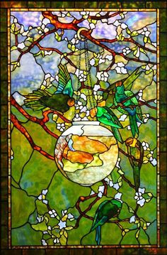 Parakeet & Fishbowl Window/Tiffany