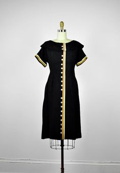 vintage dress- 1930's DON'T LOOK BACK striped linen