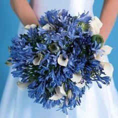 Blue wedding bouquet via bouquet4princes.wordpress.com