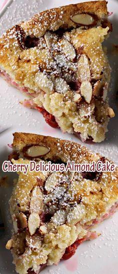 Cherry Delicious Almond Cake - use gluten free flour, of course! Cherry And Almond Cake, Almond Cakes, Baking Recipes, Cake Recipes, Dessert Recipes, Just Desserts, Delicious Desserts, Cupcake Cakes, Cupcakes