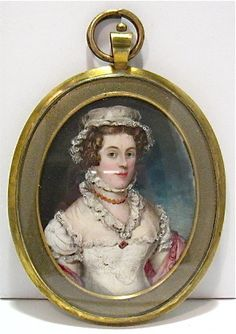 ANTIQUE SMALL PORTRAIT HAND PAINTED ON FAUX IVORY WOMAN GOLD OVAL FRAME   eBay