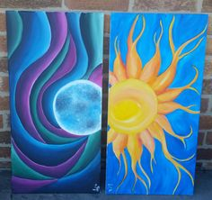 Mystical Moon II & Sunshine acrylic on canvas 12x24 Mystical Moon & companion piece Sunshine. $80 (sold as pair)