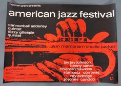 American Jazz Festival, Original Vintage 1960 German Concert Poster Designed by Gunther Kieser