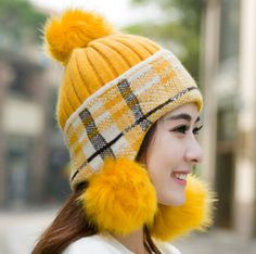 Rabbit fur ball knit beanie hat for girls plaid winter bomber hat