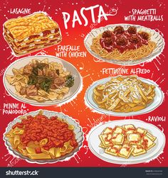 Hand drawn vector illustration of 6 popular Pasta dishes including Lasagne Spaghetti with Meatballs Farfalle with Chicken Fettuccine Alfredo Penne al Pomodoro and Ravioli. Menue Design, Food Design, Fettucine Alfredo, Pollo Alfredo, Chicken Fettuccine, Real Food Recipes, Yummy Food, Cute Food Art, Cute Food Drawings