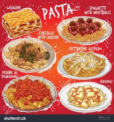 Hand drawn vector illustration of 6 popular Pasta dishes, including Lasagne, Spaghetti with Meatballs, Farfalle with Chicken Fettuccine Alfredo, Penne al Pomodoro and Ravioli.-食品及饮料,其它-海洛创意(HelloRF)-Shutterstock中国独家合作伙伴-正版素材在线交易平台-站酷旗下品牌