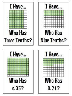 I Have, Who Has? Fractions, Decimals & Percents.  Gr 4-6