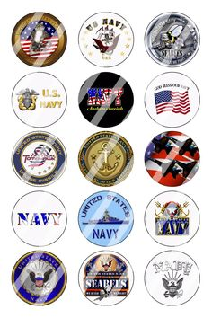"Navy Bottle Cap 1"" Circle Images Sheet #1 (instant download or pre cut)"