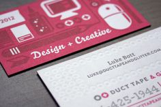 Duct Tape and Glitter Business Cards - a great example to show that minimal color always looks great!