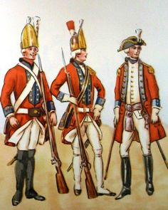 Grenadier Regiment. From left to right: grenadier 1778 junior officer in 1779, a staff officer 1775. Fig. B. Gembarzewski.