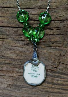 Reversible, Broken China Necklace by FarmHouseFashion on Etsy