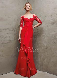 Abendkleider - $158.60 - Etui-Linie Herzausschnitt Bodenlang Chiffon Abendkleid mit Rüschen Spitze (0175059113)