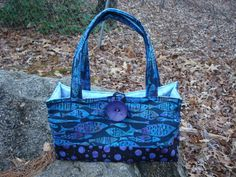 Blue and Purple Quilted Fish Purse Bag Tote by Jackiesewingstudio
