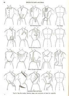 "Loads of options from the 4 basic dress designs: Practical Dress Design Mabel Erwin Sewing Inspiration""Four Basic Dress Designs - Chemise, Princess and Long Torso, One-Piece with Waistline Seam, and Two-Piece Types - - from the book Practical Dress Desi Sewing Hacks, Sewing Tutorials, Sewing Crafts, Sewing Projects, Sewing Tips, Vintage Patterns, Vintage Sewing, Sewing Patterns, Shirt Patterns"